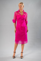 Cocktail Organza Wrap Dress - Fuchsia Pink