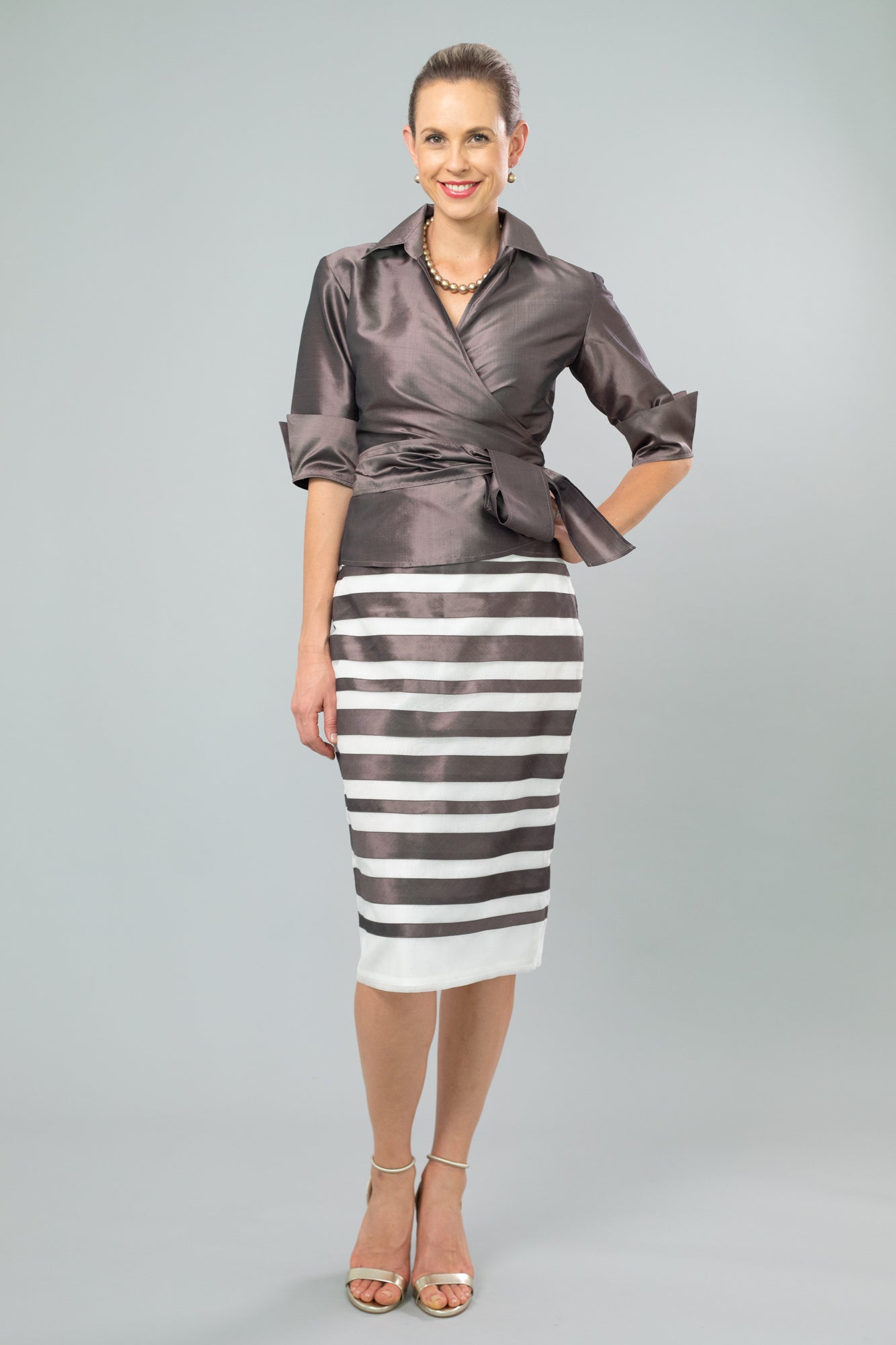 Nickel Pure Silk Classic Wrap Shirt and Zambi Skirt for the Mother of the Bride / Groom from Living Silk