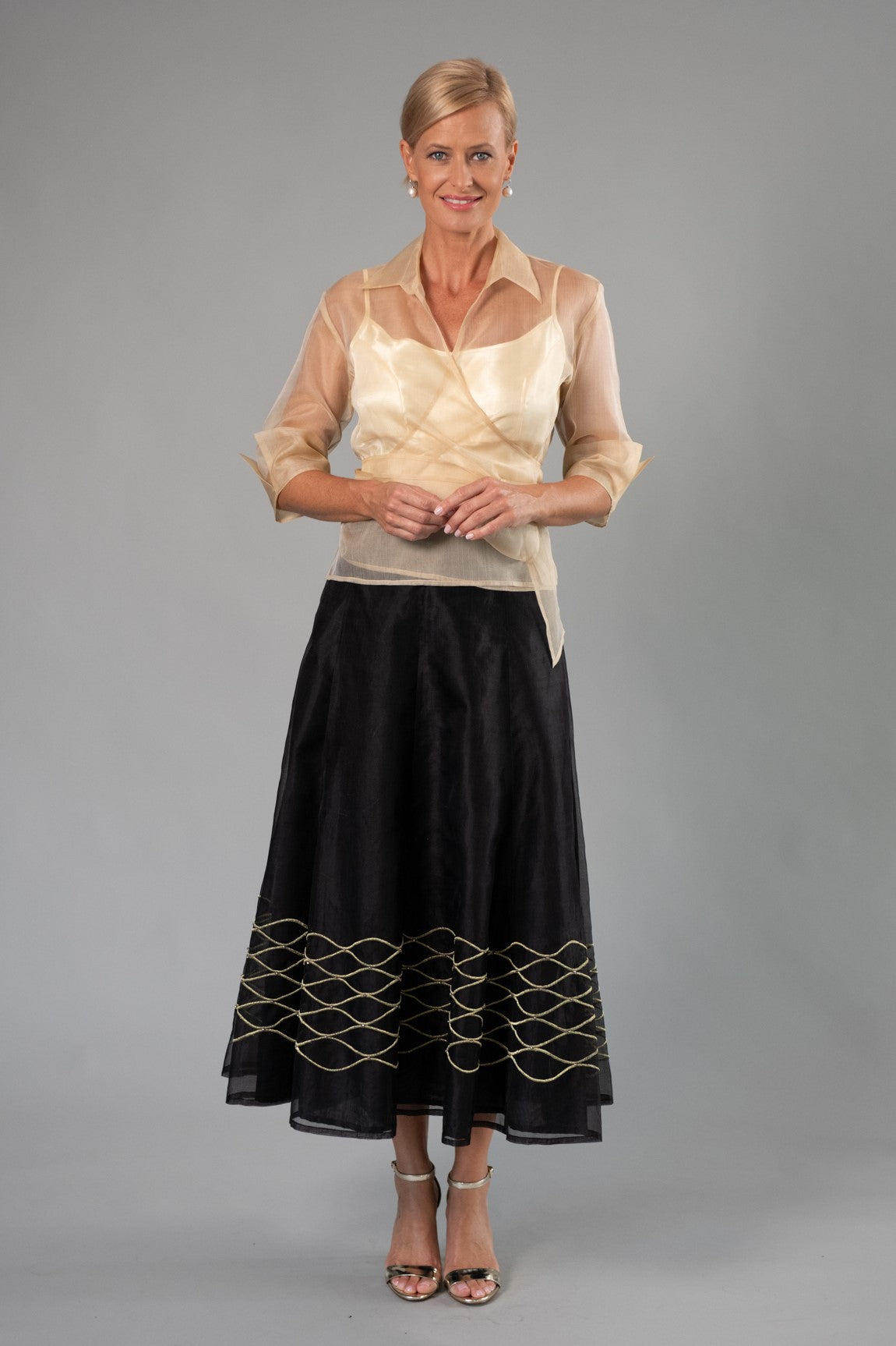 Evening Skirt - Black + Gold