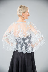 Beaded Lace Cape - Silver