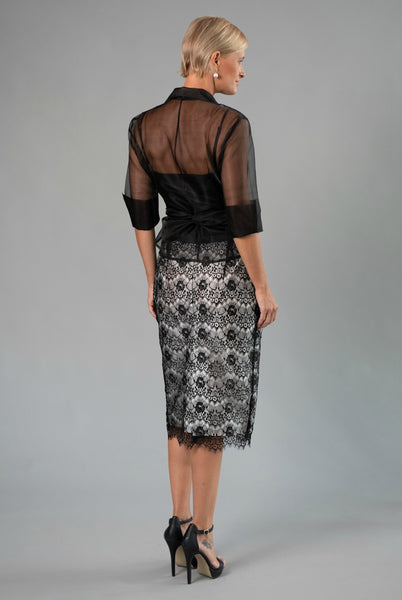 Lace Pencil Skirt  - Black + Ivory