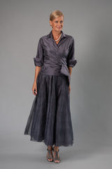 Gunmetal Classic Wrap Shirt and Long Bohemian Skirt for the Mother of the Bride / Groom from Living Silk