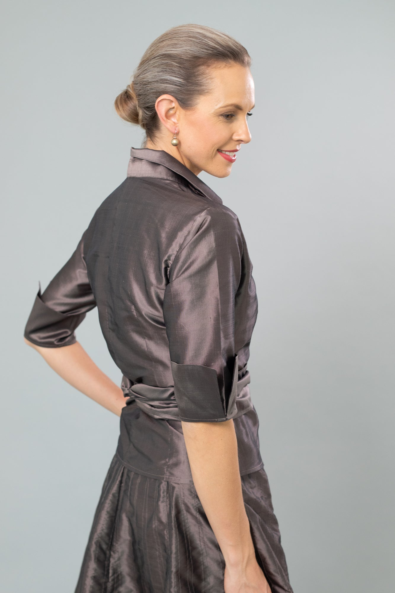 Nickel Pure Silk Classic Wrap Shirt for the Mother of the Bride / Groom from Living Silk