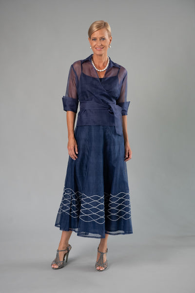 Evening Skirt - Navy Blue + Silver