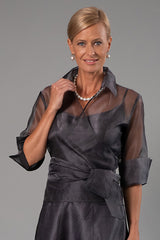 Gunmetal Pure Silk Organza Classic Wrap Shirt and Long Pansy Skirt for the Mother of the Bride / Groom from Living Silk