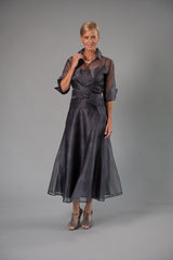 Gunmetal Pure Silk Classic Wrap Shirt and Long Pansy Skirt for the Mother of the Bride / Groom from Living Silk