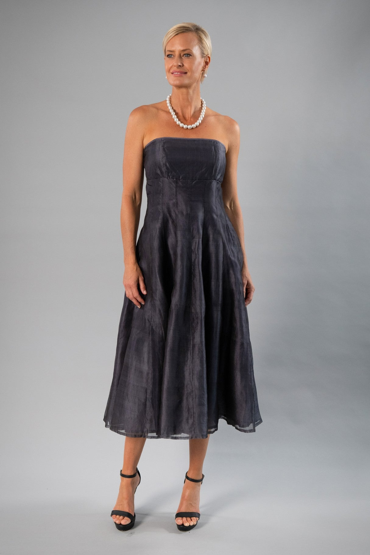 Tea Length Dress - Gunmetal