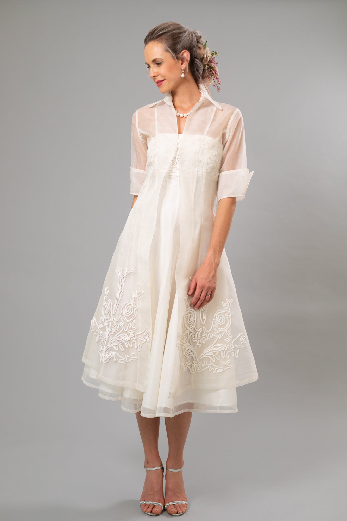 Jasmine Lace Organza Coat - For the Understated Bride
