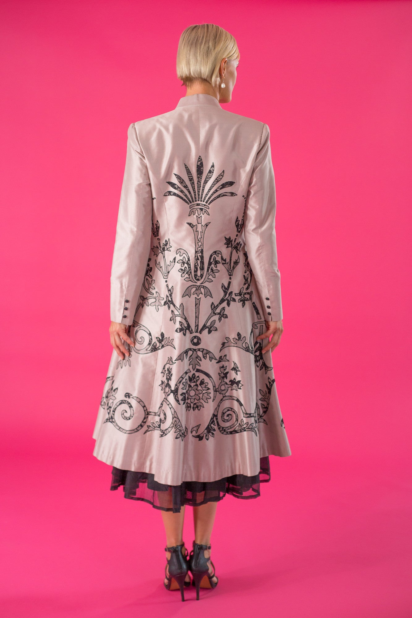 Lace Applique Coat - Shell