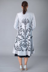 Lace Applique Coat - Silver