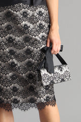 Lace Clutch - Shell + Black