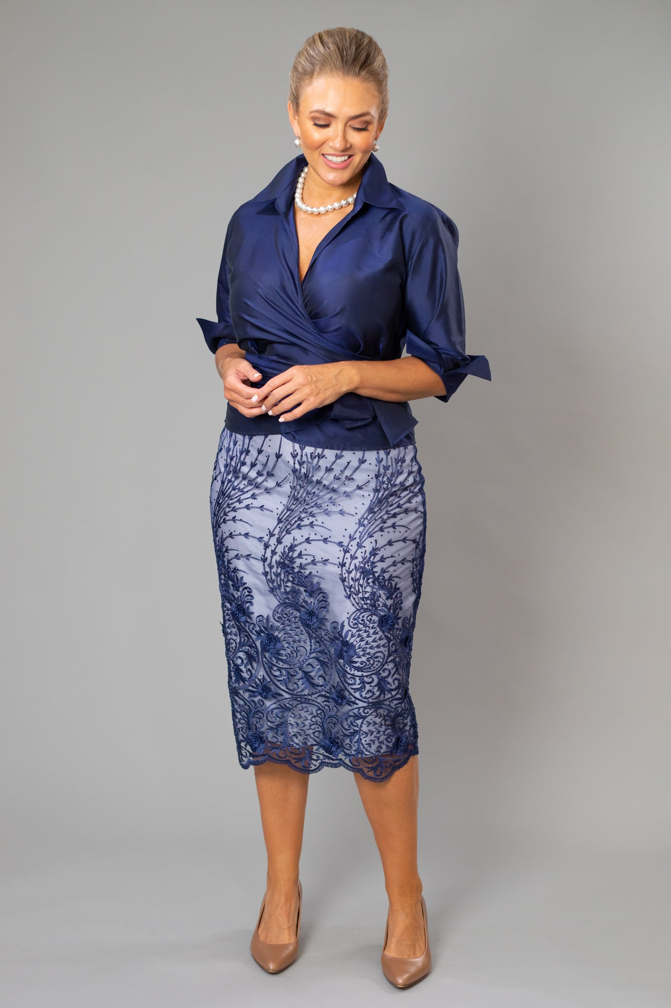 Lace Skirt - Midnight & Silver