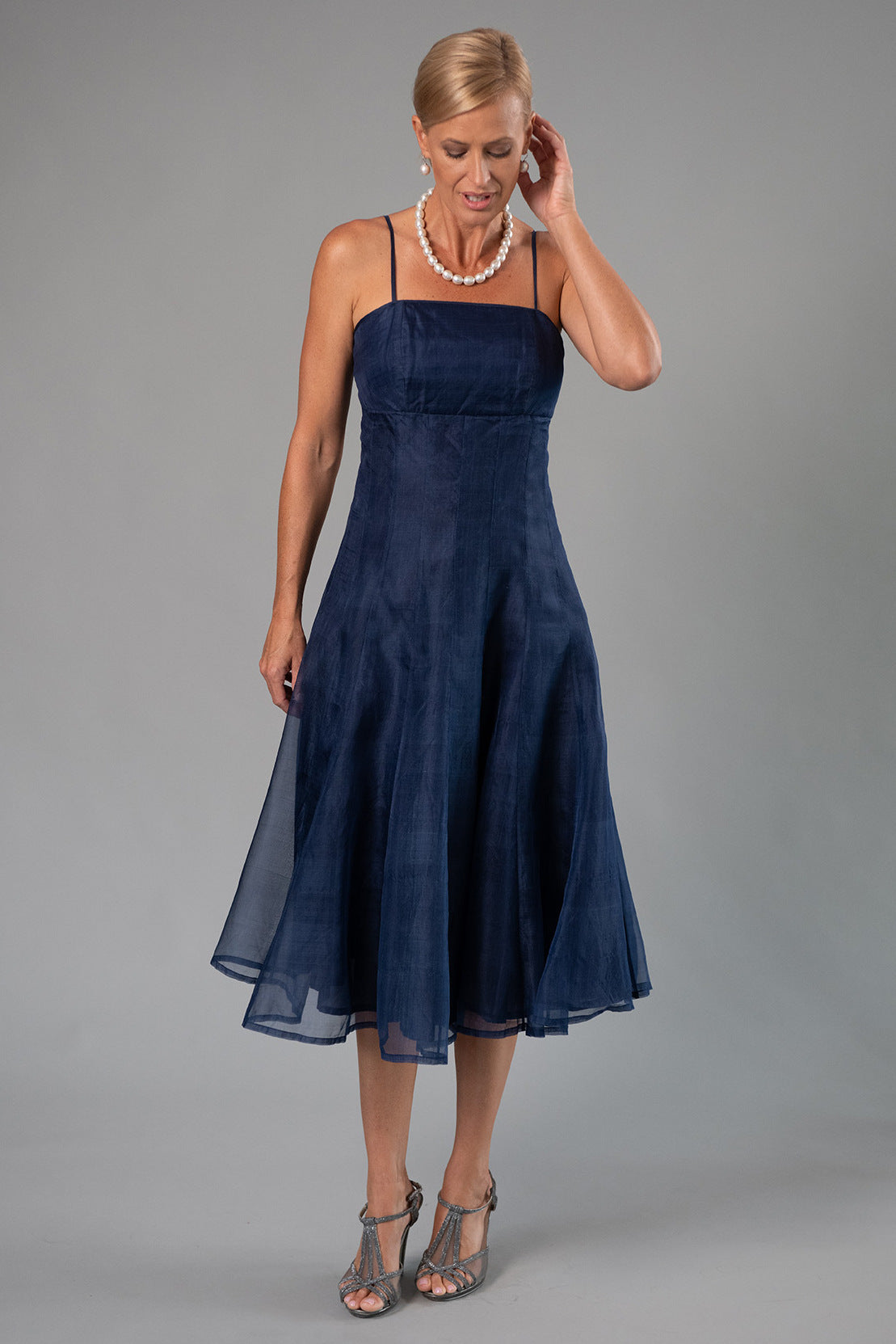 Tea Length Dress - Midnight Blue