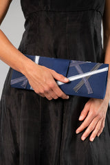 Ribbon Clutch - Navy + Silver
