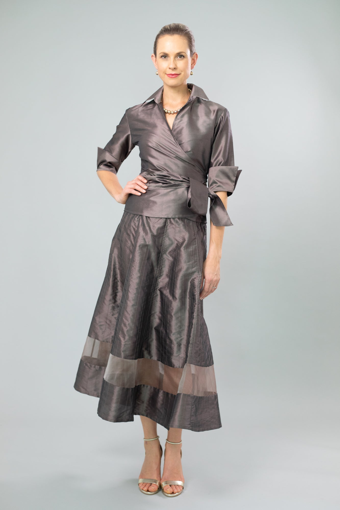 Nickel Pure Silk Classic Wrap Shirt and Cocktail Skirt for the Mother of the Bride / Groom from Living Silk