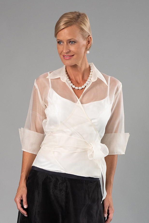 Organza Classic Wrap Shirt - Ivory