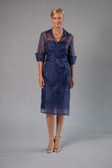 Cocktail Organza Wrap Dress - Midnight Blue
