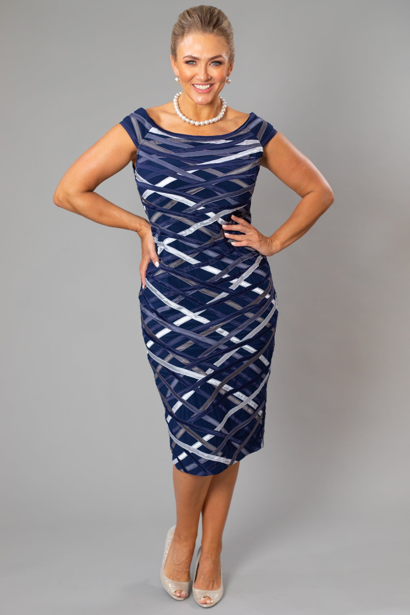 Ribbon Dress - Midnight + Silver