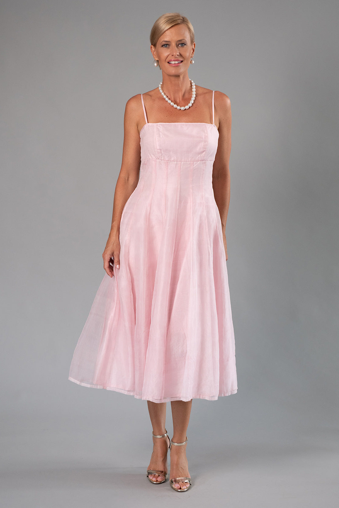 Tea Length Dress - Soft Pink