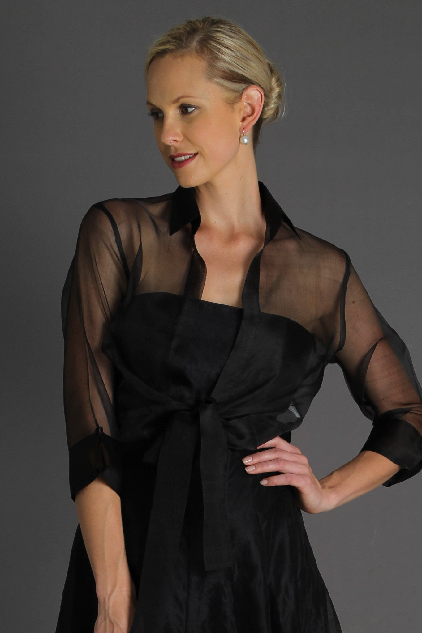 Organza Jacket with Tie - Black