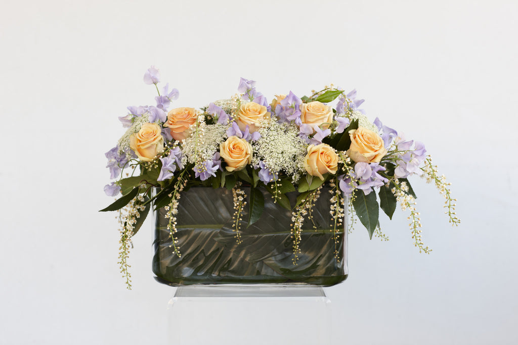 Designer flower arrangement, table center, square vase