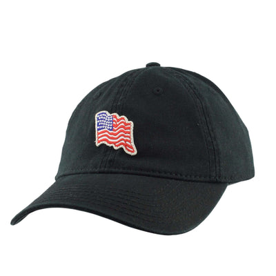 1850 1850 Micro Flag Patch Black/Black Slouch Strapback