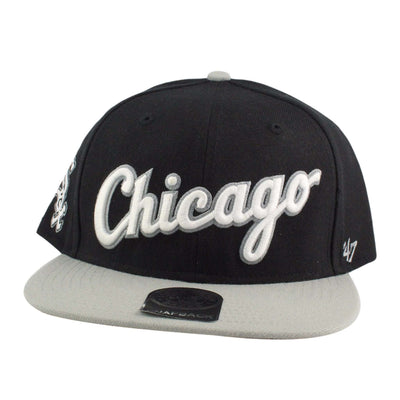 '47 Chicago White Sox Script Side 2 Tone Black/Gray Snapback
