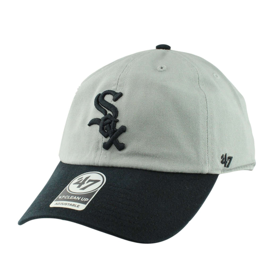 482a828f '47 Chicago White Sox Two Tone Clean Up Gray/Black Slouch Strapback
