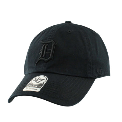 '47 Detriot Tigers Clean Up All Black/Black Slouch Strapback