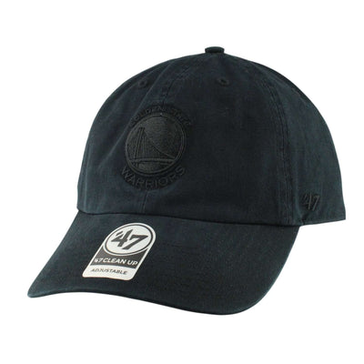 '47 Golden State Warriors Black Clean Up Black/Black Slouch Strapback