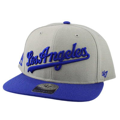 '47 Los Angeles Dodgers Script Side 2Tone Gray/Blue Snapback