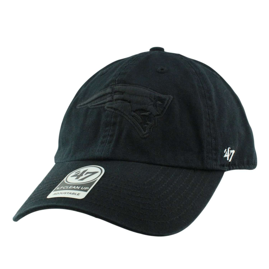 164a2e832bf24  47 New England Patriots All Black Clean Up Black Black Slouch Strapback