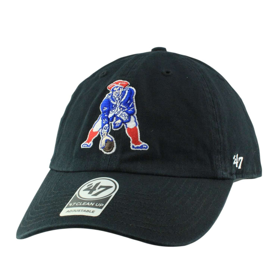 0647a849031  47 New England Patriots Throwback Clean Up Black Black Slouch Strapback