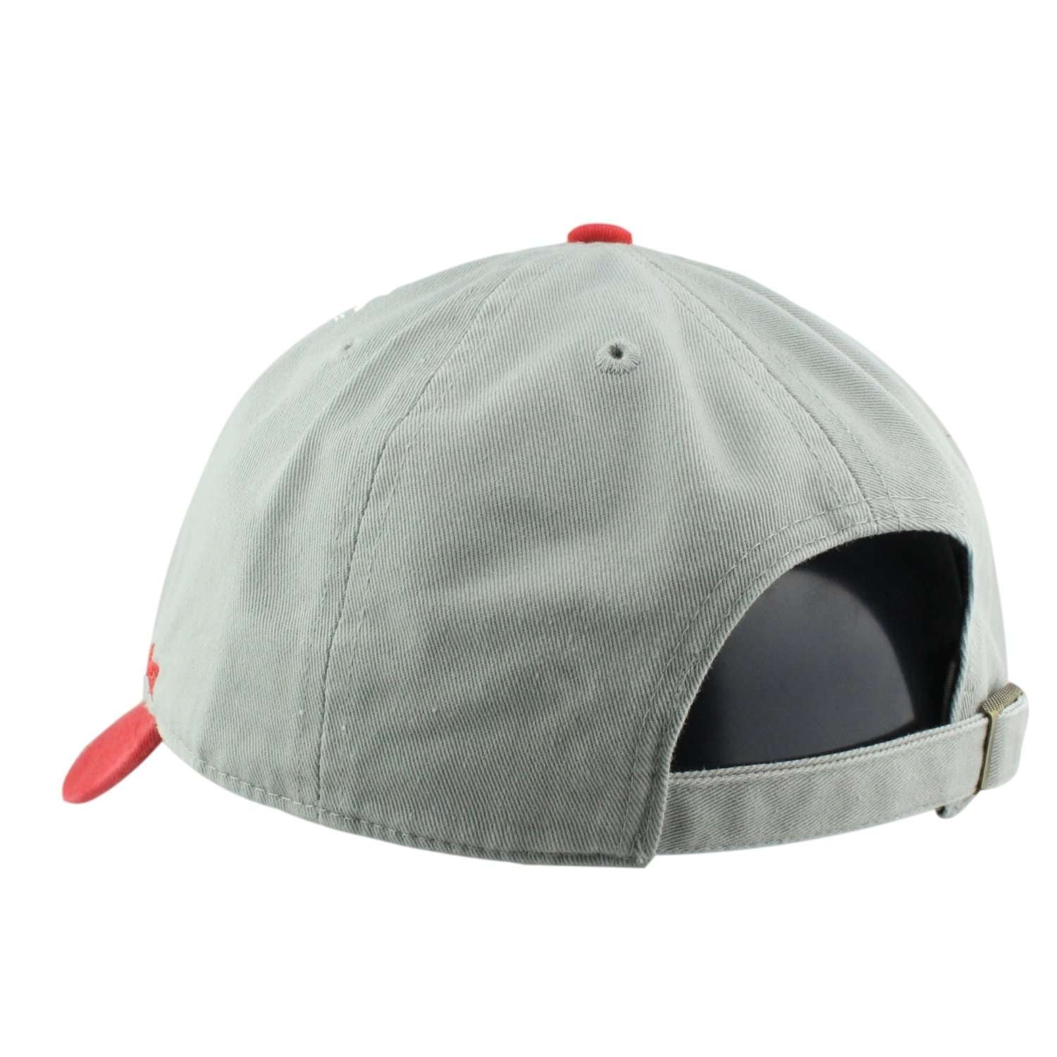 New England Patriots Two Tone Clean Up Gray Red Slouch Strapback
