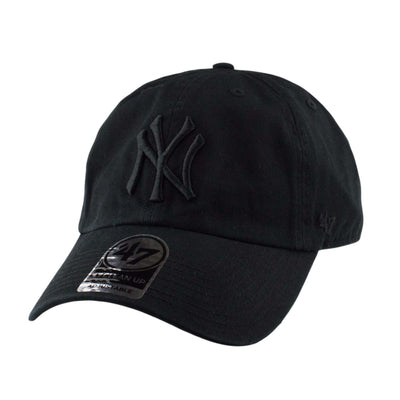 '47 New York Yankees Black Clean Up Black/Black Strapback