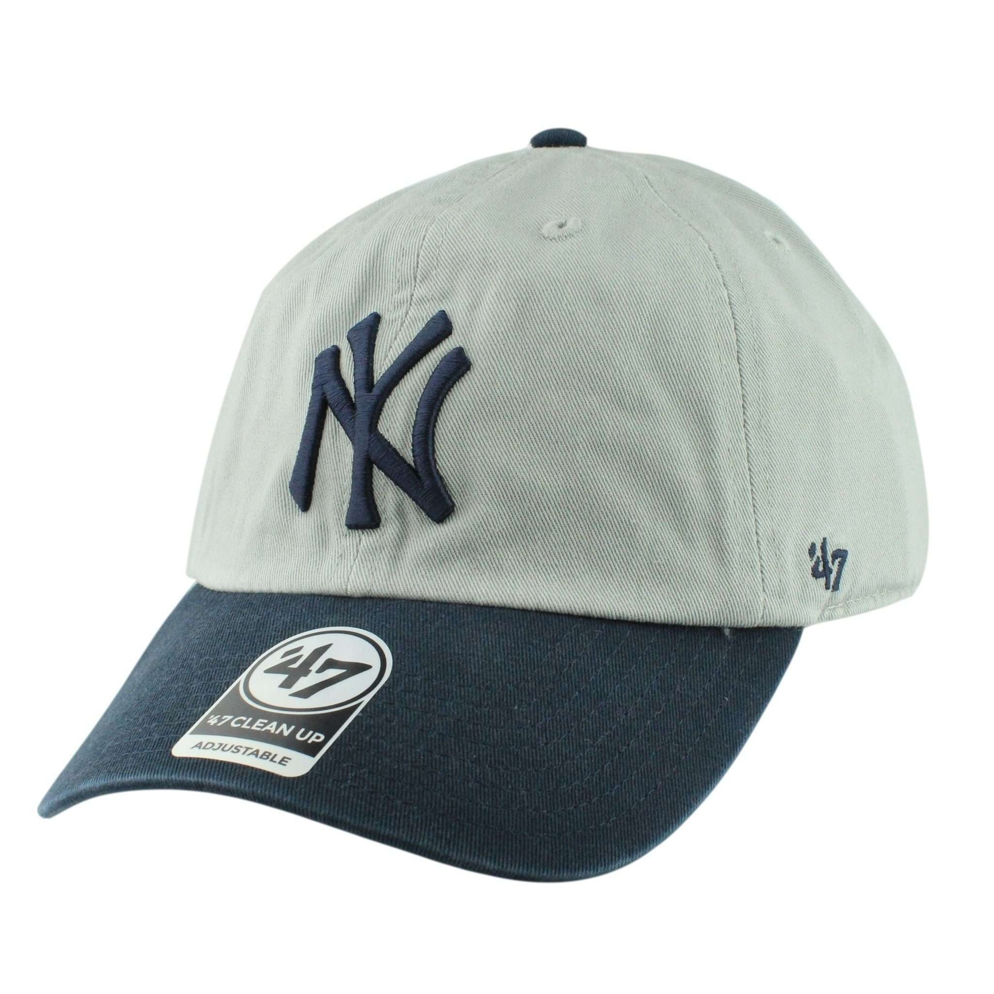 560b213c13d  47 New York Yankees Two Tone Clean Up Gray Navy Slouch Strapback.