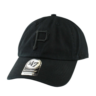 '47 Pittsburgh Pirates Black Clean Up Black/Black Slouch Strapback