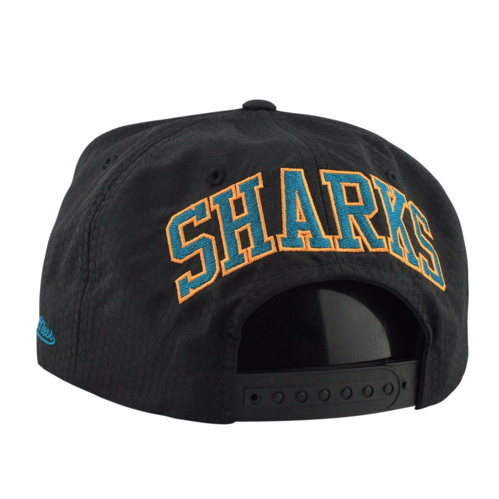 Mitchell and Ness NHL Adjustables, San Jose Sharks Black Ripstop Honey Black/Black Snapback - Bespoke Cut and Sew
