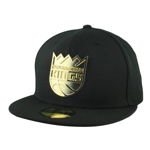 Sacramento Kings Golden Finish Metal Black/Black Fitted