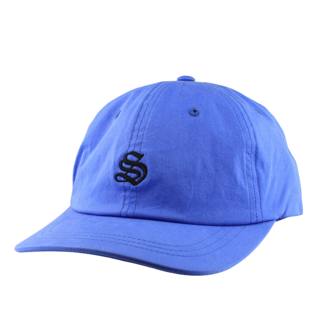 Stussy, Stussy Bio Washed Cotton Low Blue/Blue Slouch Strapback - Bespoke Cut and Sew