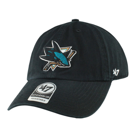 San Jose Sharks Clean Up Black/Black Slouch Strapback