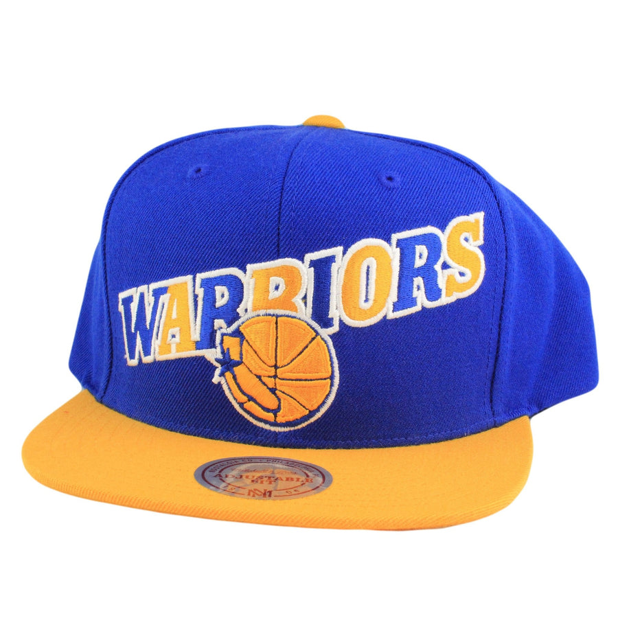 brand new 0b0b7 c6f7b Mitchell and Ness San Francisco Warriors Tri Pop Wordmark HWC Blue Yellow  Snapback