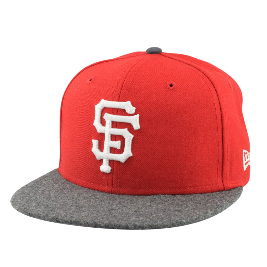 New Era MLB Fitteds, San Francisco Giants White Wool Red/Gray Fitted - Bespoke Cut and Sew
