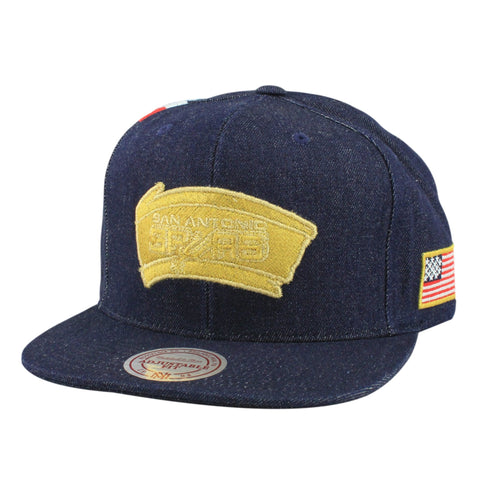 San Antonio Spurs The USA Denim Stripe Denim/Denim Snapback, Mitchell and Ness