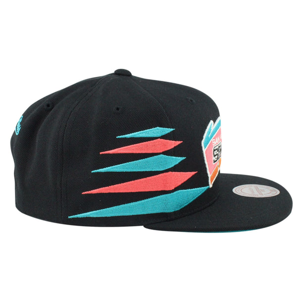 Mitchell and Ness NBA Adjustables, San Antonio Spurs Solid Diamond Black/Black Snapback - Bespoke Cut and Sew