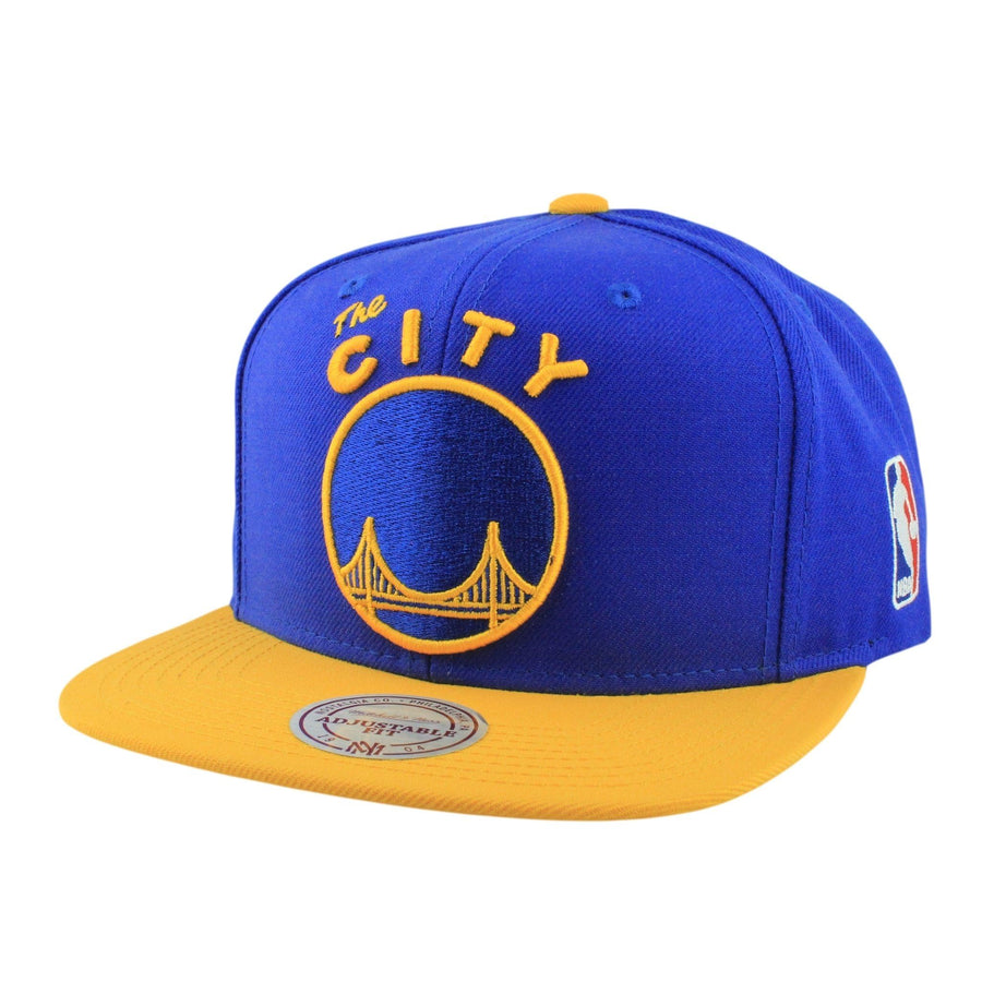 33cba2c70b5 Mitchell and Ness San Francisco Warriors XL Logo Blue Yellow Snapback