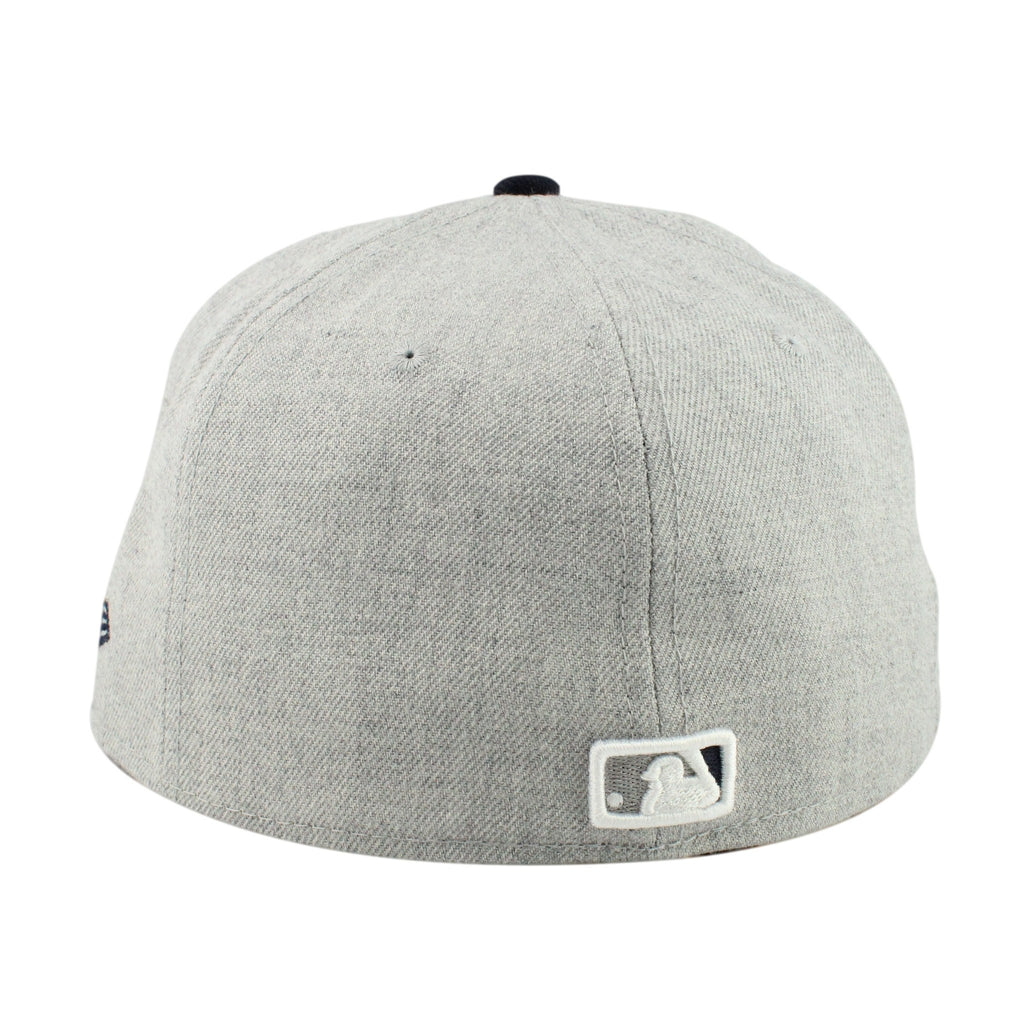 New Era MLB Fitteds, San Diego Padres Heather Gray/Dark Navy Fitted - Bespoke Cut and Sew
