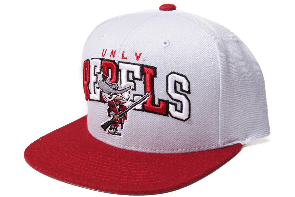 Mitchell and Ness NCAA Adjustables, UNLV Rebels Tri-Pop Gray/Red Snapback - Bespoke Cut and Sew