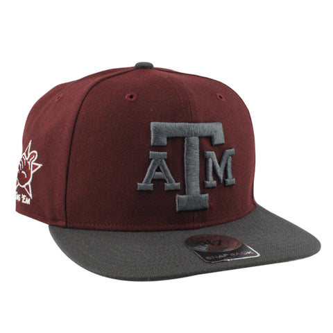 Texas A&M Aggies Sure Shot Maroon/Gray Snapback, 47 Brand
