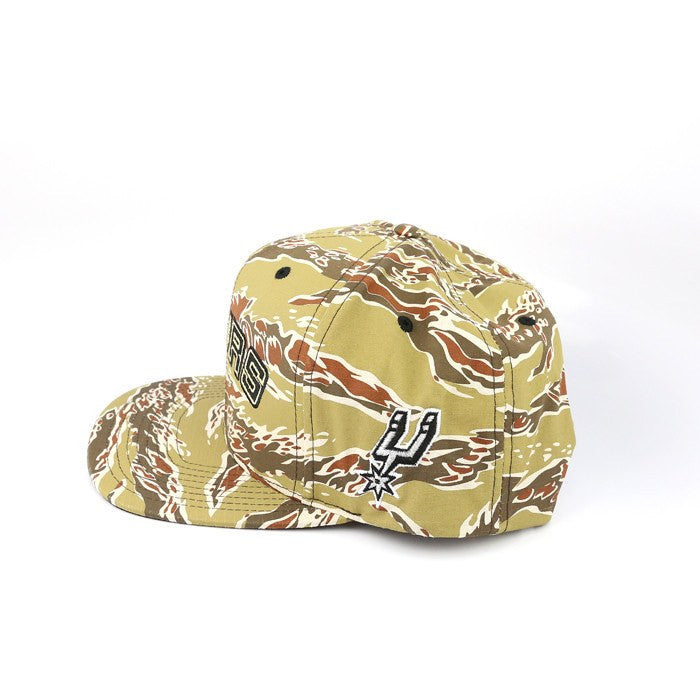 Mitchell and Ness NBA Adjustables, San Antonio Spurs Logo Camo/Camo Snapback - Bespoke Cut and Sew